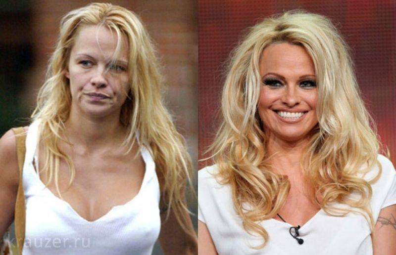 Памела Андерсон как выглядит с фотошопом и макияжем и без в реальной жизни