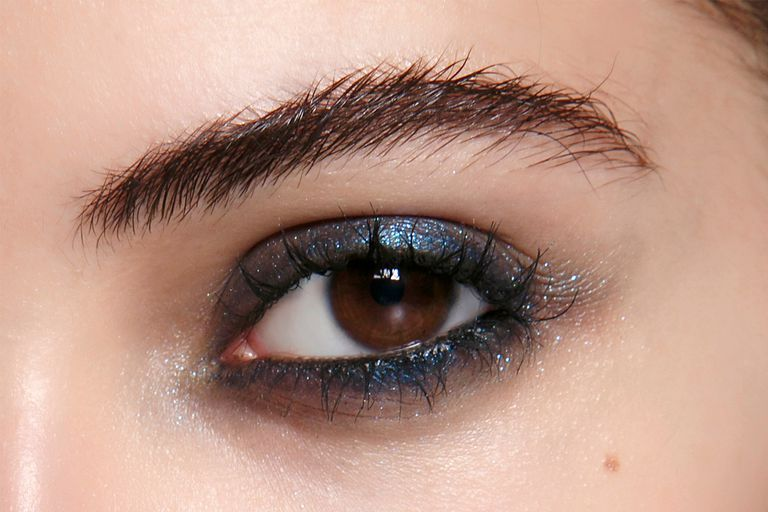 Smudgy, Shimmery-Indigo Shadow and a Thick Coat of Inky Mascara