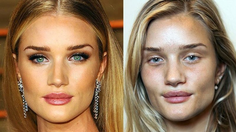 Фото моделей с макияжем и без
