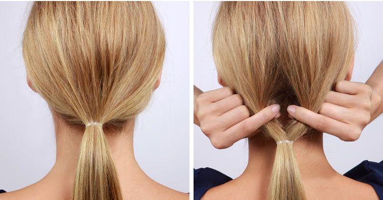 Хвост из длинных волос