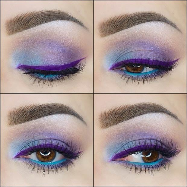 Яркий макияж в сочетании оттенков синего и сиреневого цвета