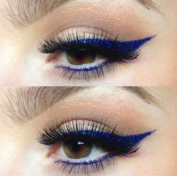 Макияж карих глаз с широкими синими стрелками