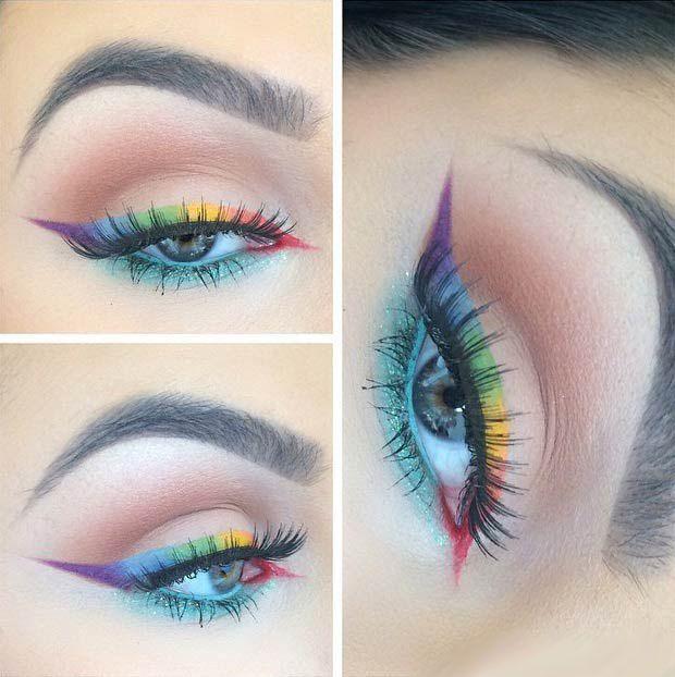 Летний многоцветный макияж с необычными стрелками