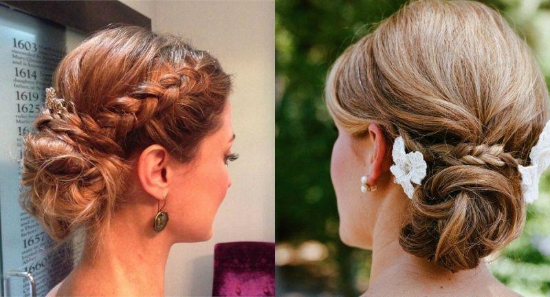 Свадебный пучок на длинные волосы с косами