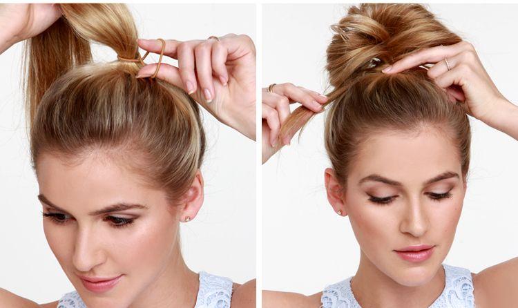 Делаем простой бантик из волос на макушке