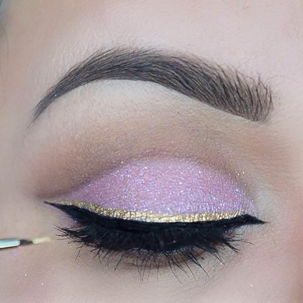 Макияж глаз в греческом стиле с золотой стрелкой