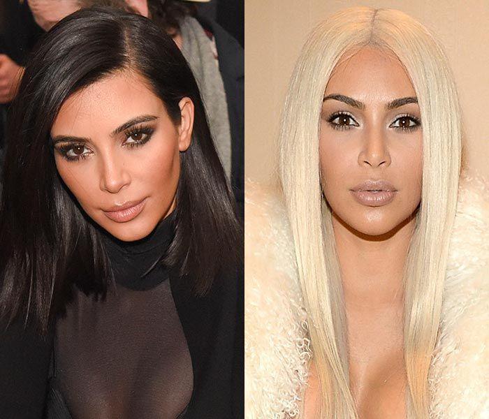 Телезвезда Ким Кардашьян радикально сменила цвет волос в 2016 году