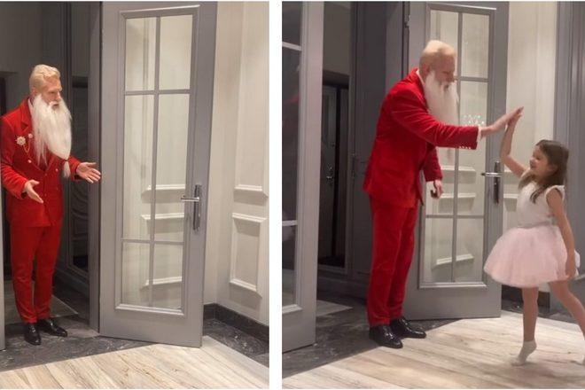 Ксению Бородину и ее семью с Новым годом поздравил стильный Дед Мороз в красном смокинге